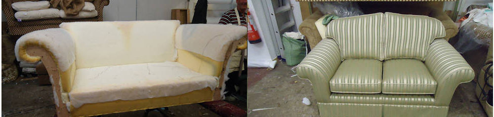 Further Before and After examples for sofa and suite upholstery from Anthony Dykes Furniture