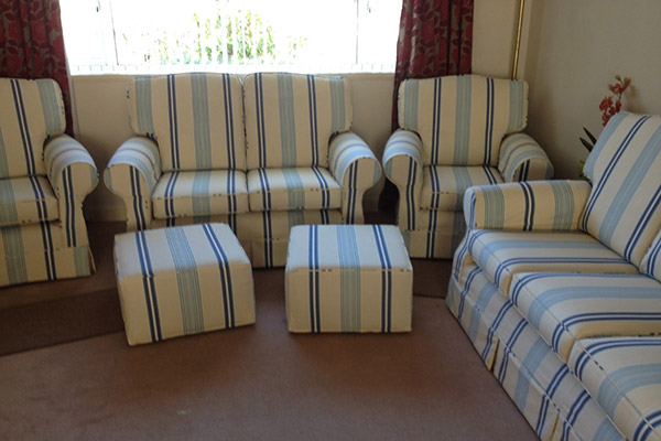 Full set of suits furniture - sofas, chair, footstools